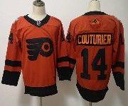 Mens Philadelphia Flyers #14 Sean Couturier Orange 2019 Stadium Series Adidas Jersey
