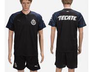 Mens 18-19 Soccer Club Chivas Guadalajara Cd (custom Made) Black Away Short Sleeve Suit Jersey