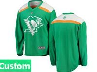 Mens Nhl Pittsburgh Penguins Green 2019 St. Patrick's Day Custom Made Jersey