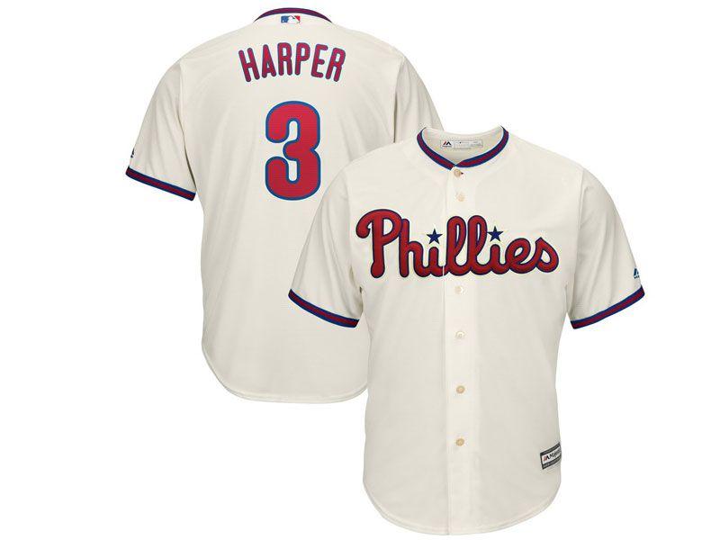 Mens Mlb Philadephia Phillies #3 Bryce Harper Alternate Cream Cool Base Jersey