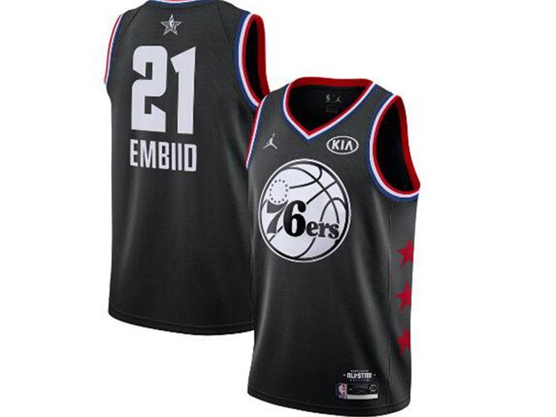 Mens Nba Philadelphia 76ers #21 Joel Embiid Black 2019 All-star Jordan Brand Swingman Jersey