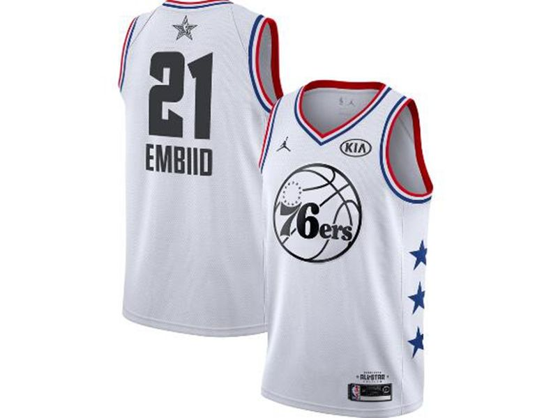 Mens Nba Philadelphia 76ers #21 Joel Embiid White 2019 All-star Jordan Brand Swingman Jersey