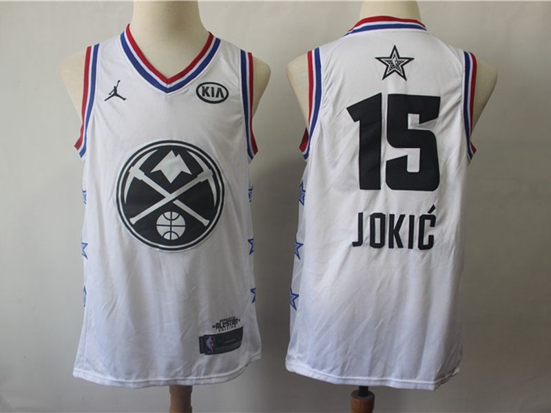 Mens Nba Denver Nuggets #15 Nikola Jokic White 2019 All-star Jordan Brand Swingman Jersey