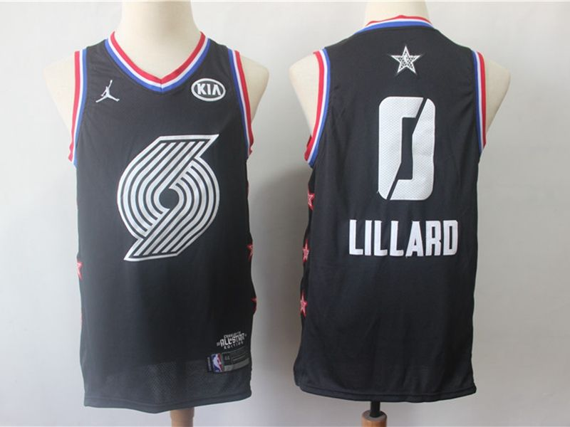 Mens Nba Portland Trail Blazers #0 Damian Lillard Black 2019 All-star Jordan Brand Swingman Jersey