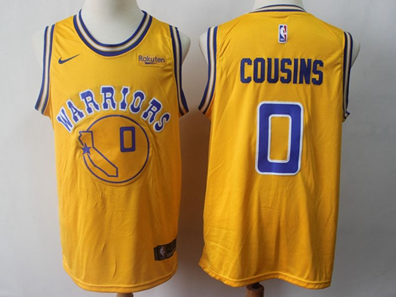 Mens Nba Golden State Warriors #0 Demarcus Cousins Gold Nike Swingman Throwback Jersey