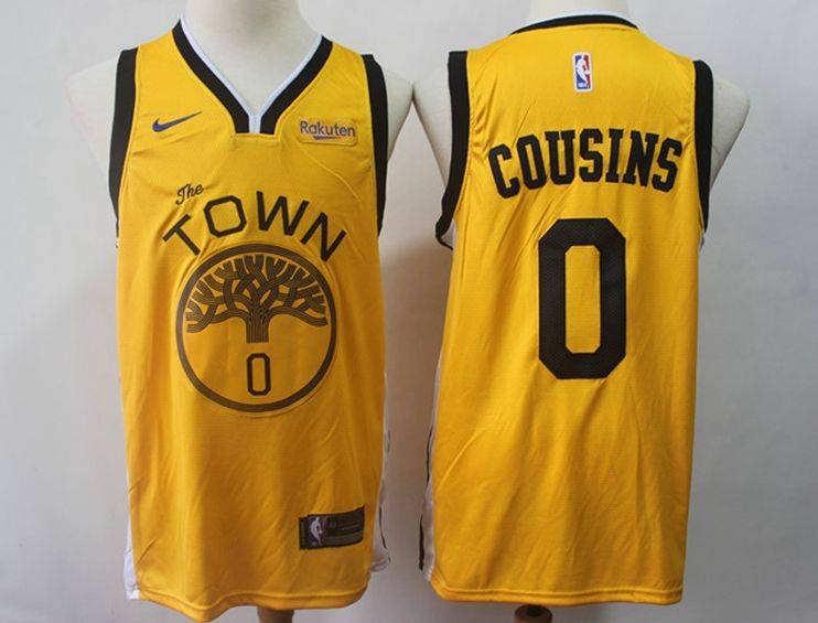 Mens Nba Golden State Warriors #0 Demarcus Cousins Gold Nike Swingman Playoff Award Edition Jersey