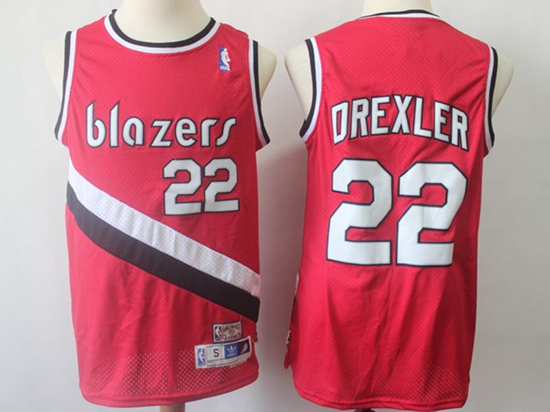 Mens Nba Portland Trail Blazers #22 Clyde Drexler Red Throwback Jersesy