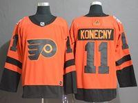 Mens Nhl Philadelphia Flyers #11 Travis Konecny Orange 2019 Stadium Series Breakaway Player Jersey