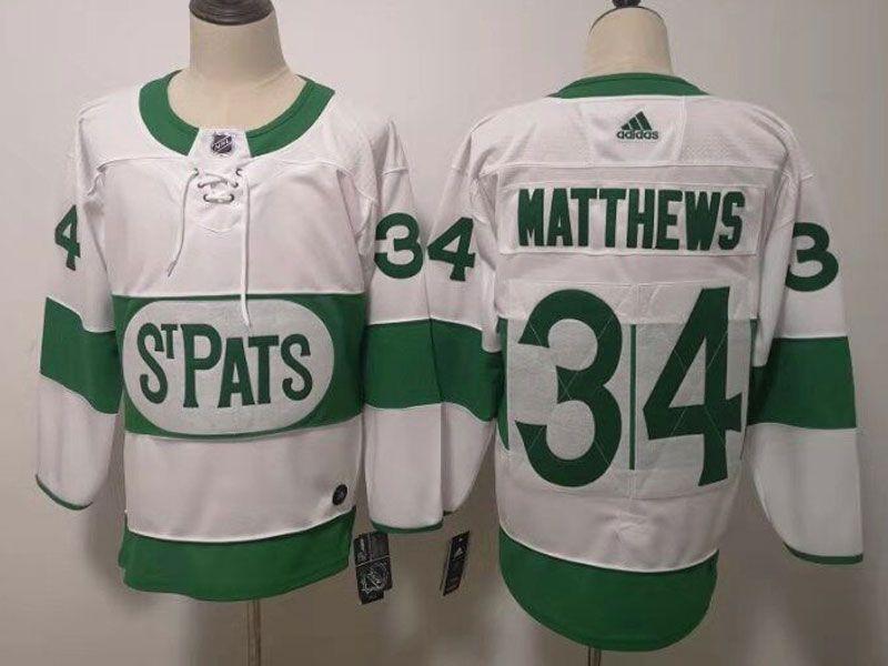Mens Nhl Toronto Maple Leafs #34 Auston Matthews Adidas St. Pats Adidas Authentic White Jersey