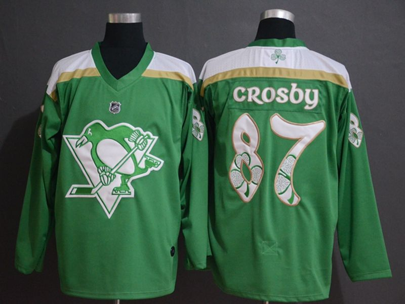 Mens Nhl Pittsburgh Penguins #87 Sidney Crosby Green 2019 St. Patrick's Day Jersey