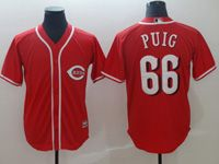 Mens Majestic Cincinnati Reds #66 Yasiel Puig Red Cool Base Player Jersey