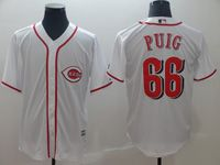 Mens Majestic Cincinnati Reds #66 Yasiel Puig White Cool Base Player Jersey