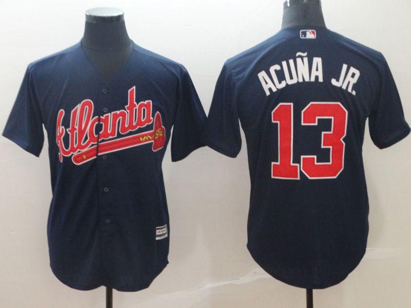Mens Mlb Atlanta Braves #13 Acuna Jr Blue 2019 Alternate Official Cool Base Jersey