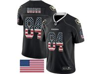 Mens Nfl Las Vegas Raiders #84 Antonio Brown Usa Flag Fashion Black Vapor Untouchable Limited Jersey