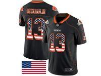 Mens Nfl Cleveland Browns #13 Odell Beckham Jr Usa Flag Fashion Black Vapor Untouchable Limited Jersey