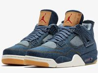 Men Nike Air Jordan 4 X Levis Aj4 Basketball Shoes Colour Blue