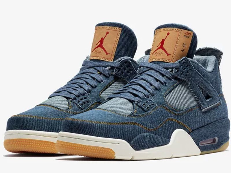 Men Nike Air Jordan 4 X Levis Aj4 Basketball Shoes Colour Blue