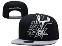 Mens Nba San Antonio Spurs Black And Gray Snapback Mitchell&ness Hats