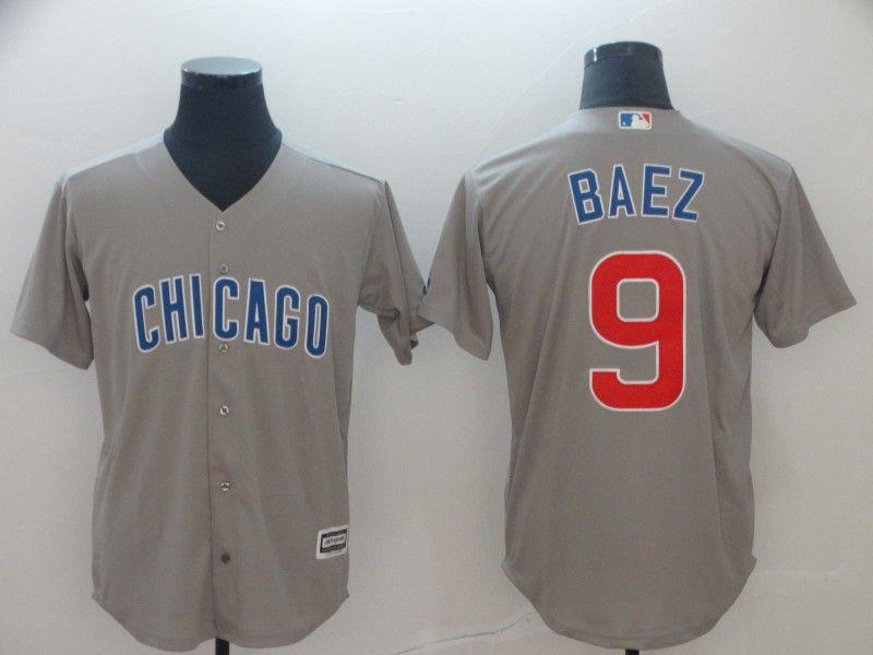 Mens Mlb Chicago Cubs #9 Javier Baez Gray Cool Base Jersey