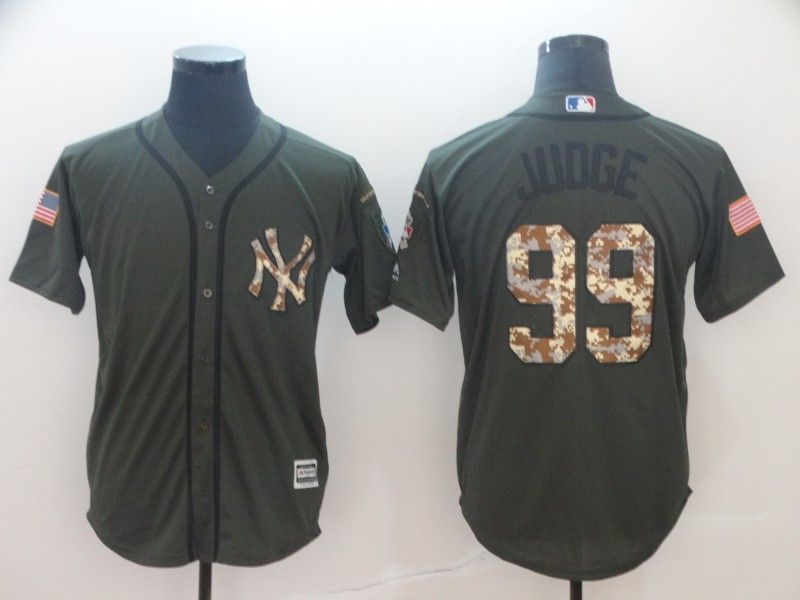 Mens Mlb New York Yankees #99 Aaron Judge Green (camo Number) Cool Base Jersey