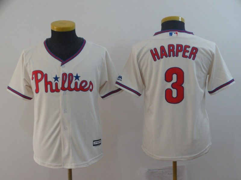 Youth Mlb Philadephia Phillies #3 Bryce Harper Alternate Cream Cool Base Jersey