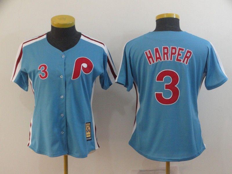Women Youth Mlb Philadelphia Phillies #3 Bryce Harper Light Blue Cool Base Cooperstown Jersey