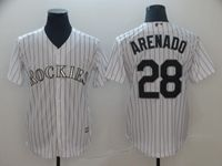 Mens Mlb Colorado Rockies #28 Nolan Arenado White Black Stripe Cool Base Jersey