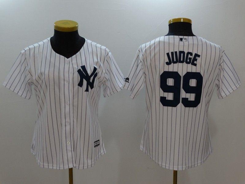 Women Mlb New York Yankees #99 Aaron Judge White Black Stripe Cool Base Jersey
