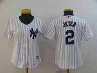 Women Mlb New York Yankees #2 Jeter White (black Stripe) Jersey