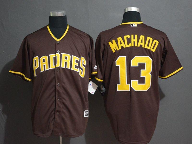 Mens Majestic San Diego Padres #13 Manny Machado Brown Cool Base Jersey
