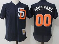 Mens Mitchell&ness Mlb San Diego Padres Custom Made Blue Pullover Throwback Mesh Jersey