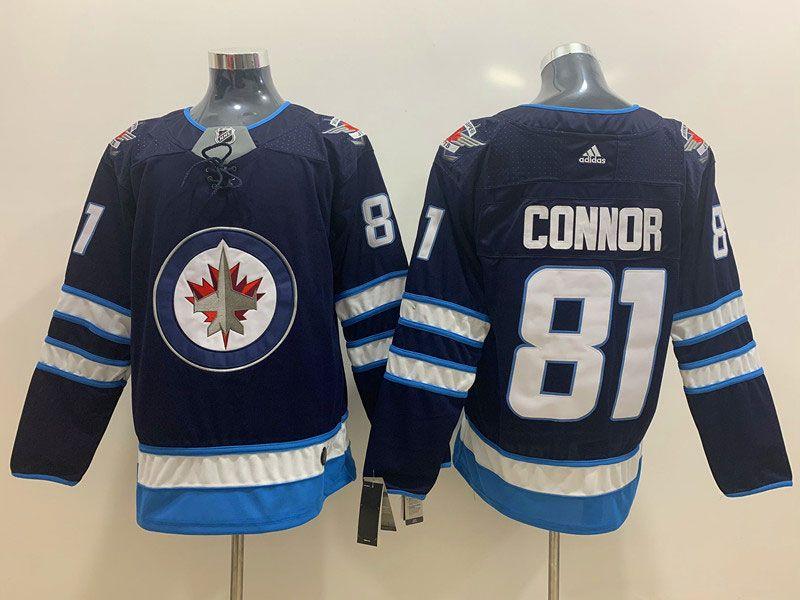 Mens Nhl Winnipeg Jets #81 Kyle Connor Blue Adidas Jersey