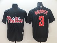 Mens Mlb Philadephia Phillies #3 Bryce Harper Alternate Black Cool Base Jersey
