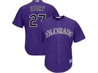 Mens Mlb Colorado Rockies #27 Trevor Story Purple Cool Base Jersey