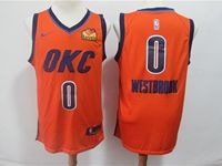 Mens 2019 Nba Oklahoma City Thunder #0 Russell Westbrook Orange Nike Earned Edition Loves Logo Jersey