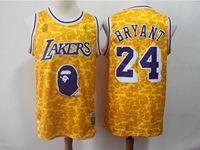 New Mens Nba Los Angeles Lakers #24 Kobe Bryant Yellow Printing Hardwood Classics Mitchell&ness Jersey