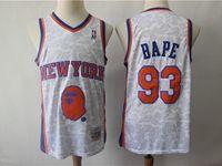 Mens Nba New York Knicks Bathing Ape #93 Bape White Printing Mitchell&ness Jersey