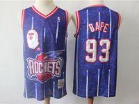 Mens Nba Houston Rockets Bathing Ape #93 Bape Purple Printing Mitchell&ness Jersey