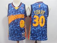 New Mens Nba Golden State Warriors #30 Stephen Curry Blue Printing Hardwood Classics Mitchell&ness Jersey