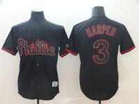 Mens Mlb Philadephia Phillies #3 Bryce Harper Black Shadow Cool Base Jersey