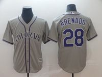 Mens Mlb Colorado Rockies #28 Nolan Arenado Gray Cool Base Jersey