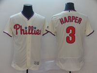 Mens Majestic Philadelphia Phillies #3 Bryce Harper Cream Flex Base Jersey