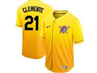 Mens Mlb Pittsburgh Pirates #21 Roberto Clemente Gold Nike Drift Cool Base Jersey