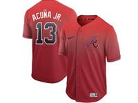 Mens Mlb Atlanta Braves #13 Acuna Jr Red Nike Drift Cool Base Jersey