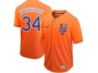 Mens Majestic New York Mets #34 Noah Syndergaard Orange Cool Base Nike Fade Jersey
