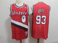 Mens Nba Portland Trail Blazers Bathing Ape #93 Bape Red Printing Mitchell&ness Jersey
