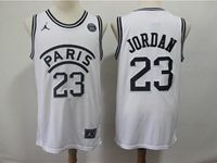 Mens Nba Movie Aj Psg Paris Saint Germain #23 Michael Jordan Basketball White Jersey