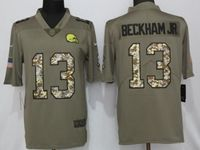 Mens Nfl Cleveland Browns #13 Odell Beckham Jr Olive Camo Carson Salute To Service Limited Jersey