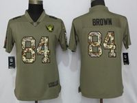 Women Oakland Raiders #84 Antonio Brown Green Olive Camo Carson 2017 Salute To Service Elite Player Jersey