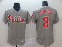 Mens Majestic Philadelphia Phillies #3 Bryce Harper Gray Flex Base Jersey